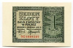 Banknot 1 zł 1941